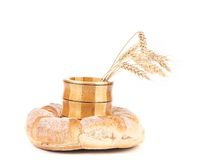 Healthy bread and wheat ears. Isolated on a white background Stock Image