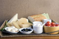 Healthy Breakfast. Breakfast with cheese, olive, tomato and bread royalty free stock photos