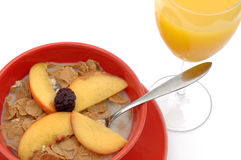 Healthy Breakfast. Of cereal, orange juice and fruit Stock Image