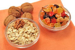 Healthy breakfast. Oatmeal with nuts and dried fruits Stock Image