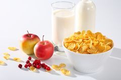 Healthy breakfast. (milk with corn flakes) and apples Royalty Free Stock Photo