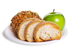 Healthy breakfast. The healthy breakfast include bread and apple Royalty Free Stock Images