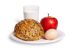 Healthy breakfast. The healthy breakfast include bread, egg, apple and a cup of milk Stock Images