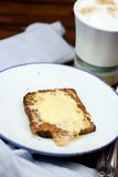 Healthy breakfast. Whole bread with egg and cheese and cup of milkcoffee stock photography