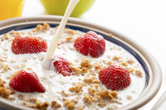 Healthy breakfast. Healthy breakfast with milk,muesli and fruit royalty free stock image