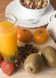 Healthy breakfast. With fruit, milk, cereals, biscuits, marmalade Royalty Free Stock Photography