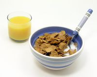 Healthy Breakfast. Cereal milk and juice isolated Royalty Free Stock Photos