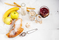 Healthy breakfast with apple, banan and croissant Stock Photo
