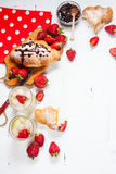 Healthy breakfast with apple, banan and croissant Royalty Free Stock Images