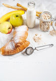 Healthy breakfast with apple, banan and croissant Royalty Free Stock Photo