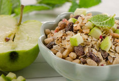 Healthy Breakfast with  apple and  muesli. Royalty Free Stock Image