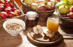 Healthy breakfast with apples Stock Images