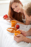 Healthy breakfast in bed Royalty Free Stock Image