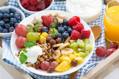 Healthy breakfast - berries, fresh fruit and cereal, top view Stock Images