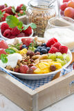 healthy breakfast - berries, fresh fruit and cereal Royalty Free Stock Photos