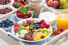 healthy breakfast - berries, fruit and cereal on the plate Stock Photos