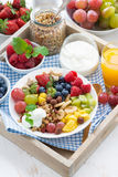 Healthy breakfast - berries, fruit and cereal on the plate Royalty Free Stock Photos