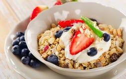 Healthy Breakfast with  berries, yogurt and  muesli. Royalty Free Stock Photos