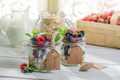 Healthy breakfast with berry fruits and yogurt Stock Photo