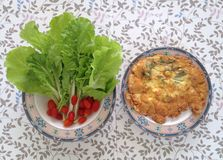 Healthy breakfast for better day. Fresh vegetable, green lettuce with small tomatoes and omelet Stock Image