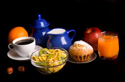 Healthy breakfast on black Royalty Free Stock Photos