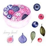 Blueberry smoothie with banana watercolor royalty free illustration