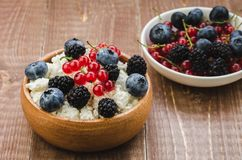 Healthy breakfast: bowl of cottage cheese with fresh berries/health and diet concept cottage cheese with fresh berries. Selective. Focus food snack curd red royalty free stock photos