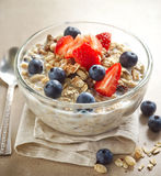Healthy breakfast, bowl of muesli with milk Royalty Free Stock Image