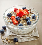 Healthy breakfast, bowl of muesli with milk Stock Photo