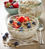 Healthy breakfast, bowl of muesli with milk Royalty Free Stock Photo