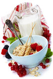 Healthy breakfast with bowl of oat flakes Royalty Free Stock Photo