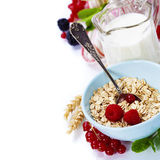 Healthy breakfast with bowl of oat flakes Stock Image