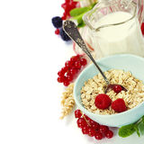 Healthy breakfast with bowl of oat flakes Royalty Free Stock Images