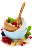 Healthy breakfast with bowl of oat flakes Royalty Free Stock Photos