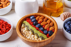 Healthy breakfast - bowl of oat flakes with fresh fruit, almond Royalty Free Stock Photography