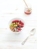 Healthy breakfast. Bowl of oat granola with yogurt Royalty Free Stock Photo