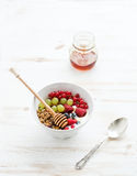 Healthy breakfast. Bowl of oat granola with yogurt Stock Images