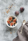 Healthy breakfast. Bowl of oat granola with yogurt Royalty Free Stock Photography