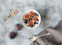 Healthy breakfast. Bowl of oat granola with yogurt, fresh blueberries and figs Stock Image