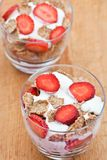 Healthy breakfast of bran flakes with yogurt Stock Images