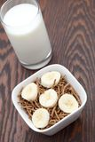 Healthy breakfast of bran and sliced banana Stock Photo