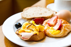 Healthy breakfast. With bread, egg and strawberry stock images