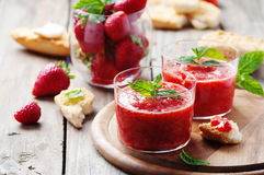 Healthy breakfast with bread and strawberry jam Stock Photo