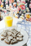 Healthy Breakfast with Canapes and Fresh Orange Juice Stock Images