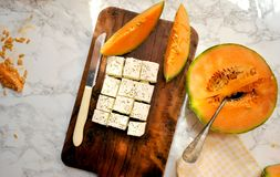 Healthy breakfast with cantaloupe and feta cheese Stock Image