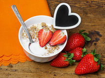Cereal with strawberries Stock Photos