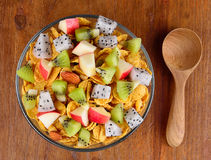 Healthy breakfast with cereal and fruit Stock Photos