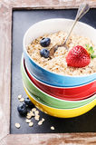 Healthy breakfast with cereal and fruits Stock Image