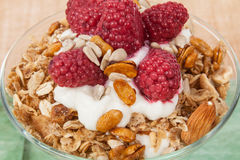 Healthy breakfast cereal with fruits and yogurt royalty free stock photo