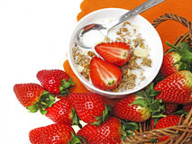 Healthy breakfast - cereal with strawberries Stock Images
